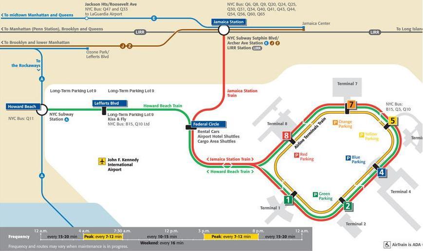 Схема поезда аэропорта Нью-Йорк